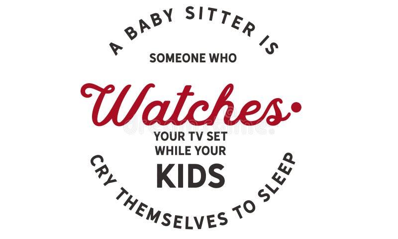 Een babysitter is iemand wie op uw Televisie terwijl let vector illustratie