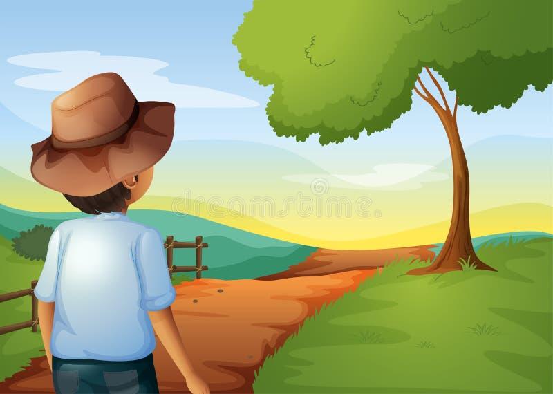 Een backview van een jonge landbouwer stock illustratie