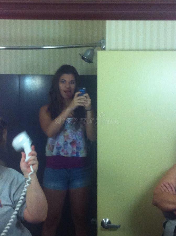 In een badkamers bij een hotel stock afbeelding
