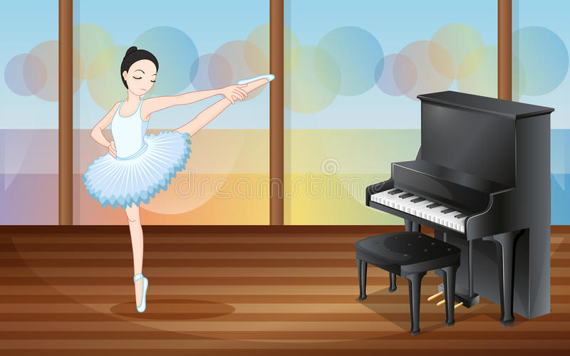 Een ballerina die dichtbij de piano dansen vector illustratie