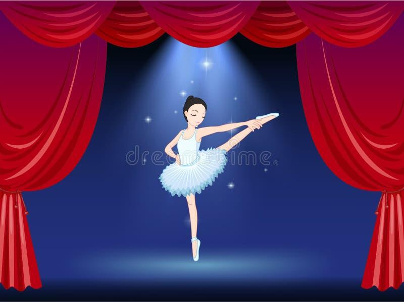 Een ballerina in het stadium met een rood gordijn vector illustratie