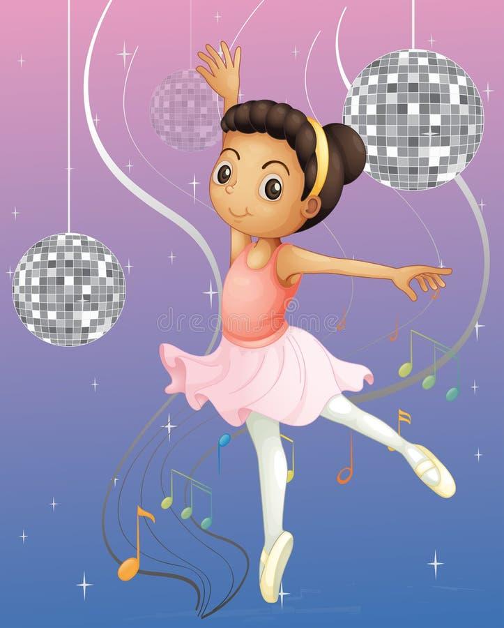 Een balletdanser met discolichten royalty-vrije illustratie