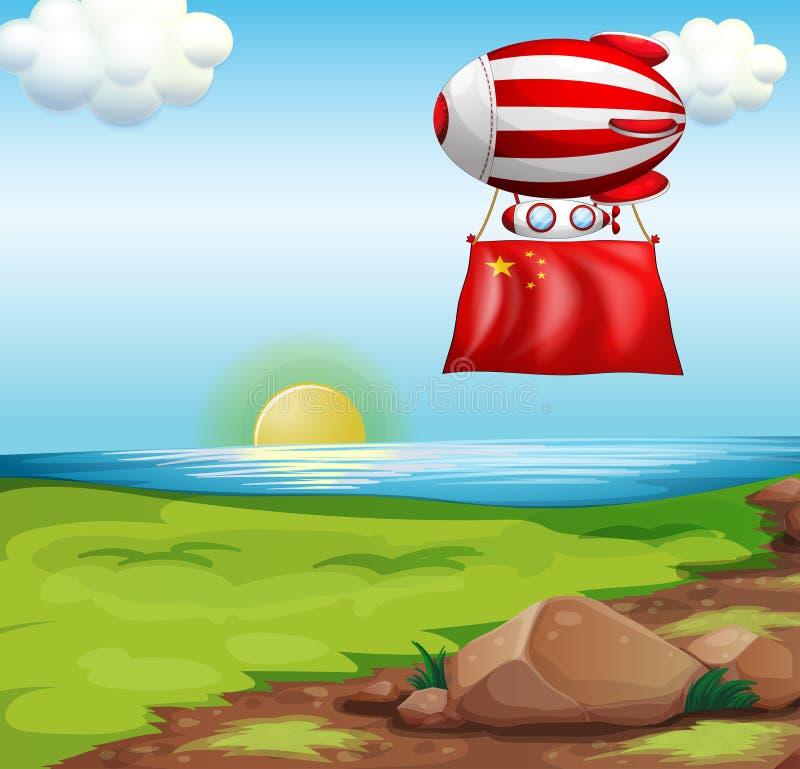 Een ballon met de vlag van China vector illustratie