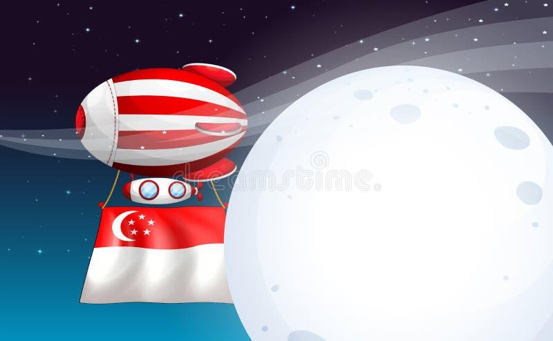 Een ballon met de vlag van Singapore vector illustratie
