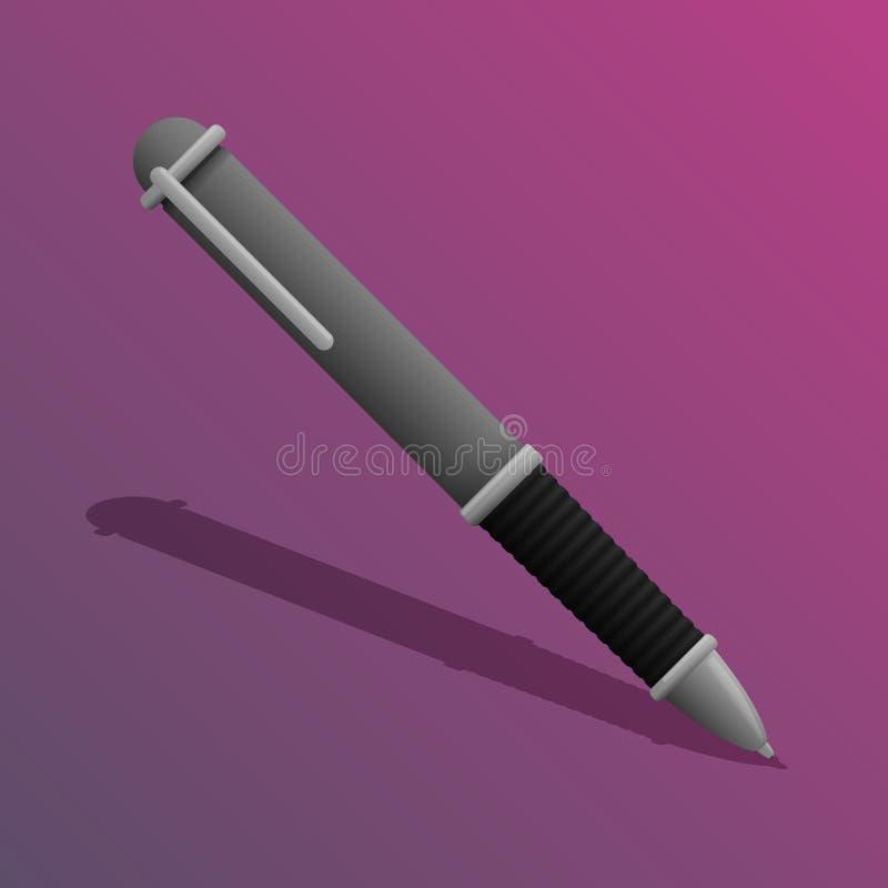 Een ballpoint op een roze achtergrond Vector illustratie royalty-vrije illustratie