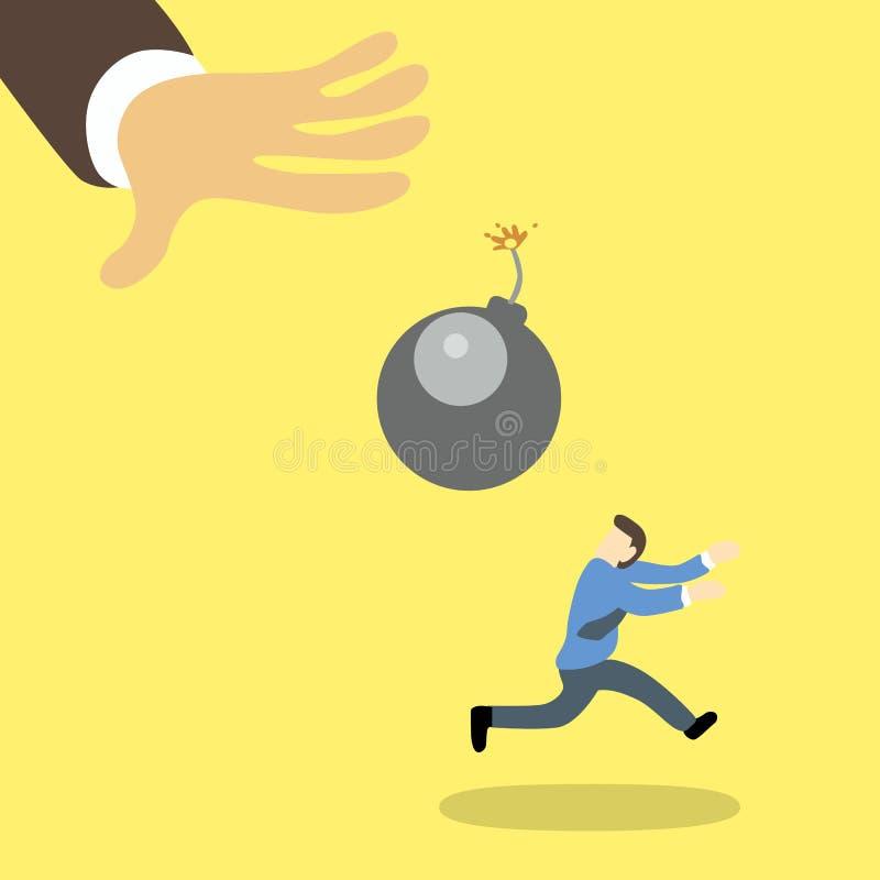 Een bang gemaakte zakenman die vanaf een aangestoken reuzebom lopen wat aan hem door de hand van de reuzezakenman werpen royalty-vrije illustratie
