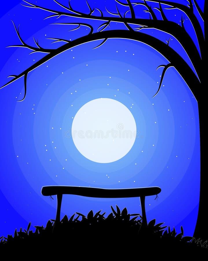 Een bank onder een boom op de achtergrond van de maan royalty-vrije illustratie