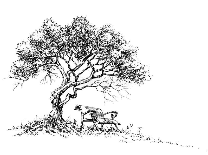 Een bank op de parkachtergrond vector illustratie