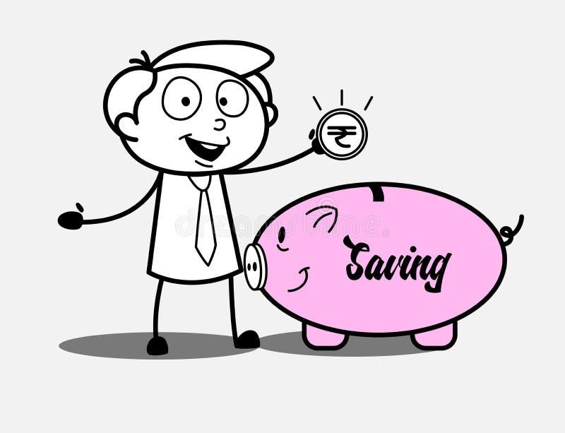 Een Bankier met Spaarvarken - Besparingsconcept vector illustratie