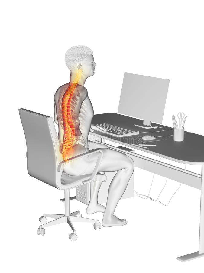 Een beambten pijnlijke rug stock illustratie