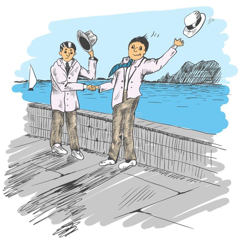 Een bediende volgt een vlinder Twee die mensen door een overzees worden ontmoet vriendschappelijke groet royalty-vrije illustratie