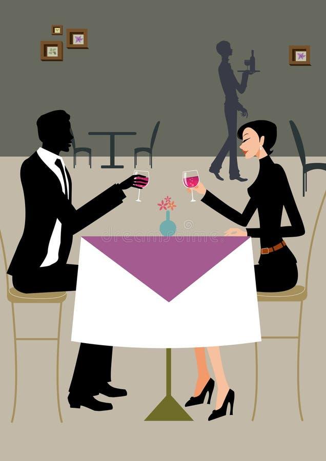 Een bedrijfsman en een vrouw hebben lunch en drinken wijn royalty-vrije stock afbeeldingen