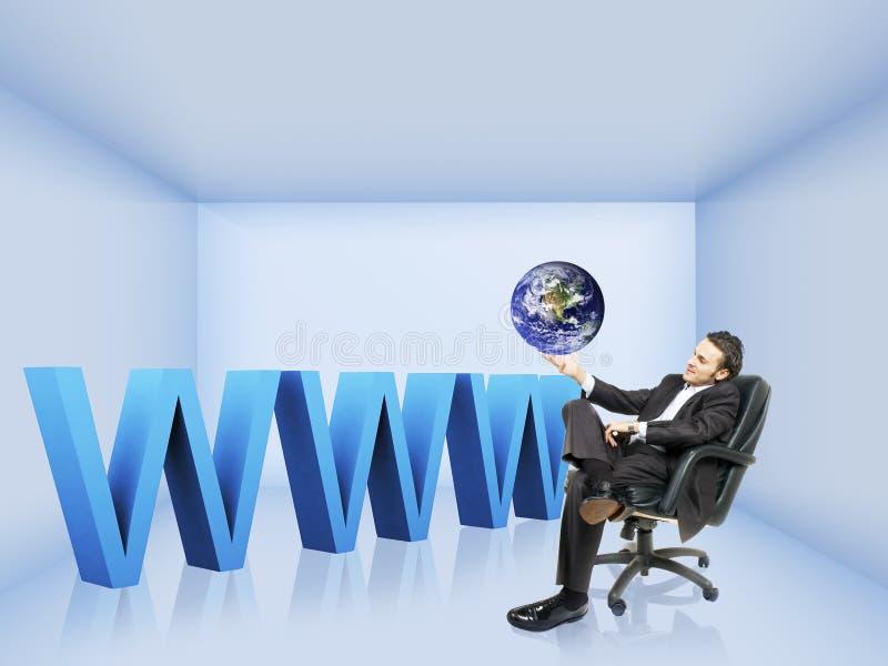 Een bedrijfsmens en www stock afbeelding