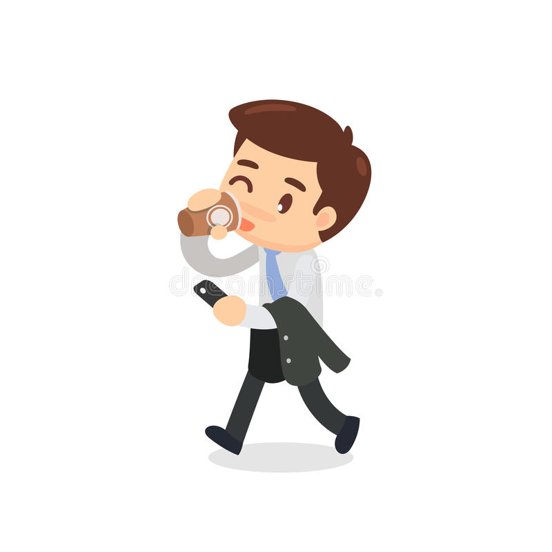 Een bedrijfsmens loopt en drinkt een kop van koffie stock illustratie