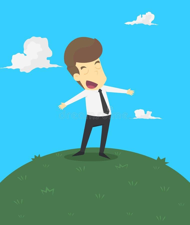 Een bedrijfsmens met geluk in het leven stock illustratie