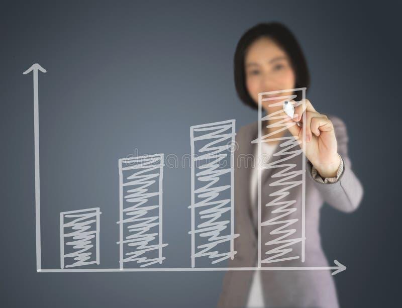 Een Bedrijfsvrouw die op grafiek schrijft royalty-vrije stock afbeelding