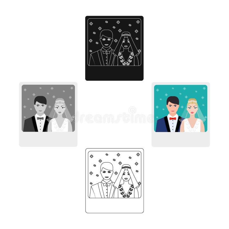 Een beeld van de bruid en de bruidegom ziet op de muur Huwelijks enig pictogram in illustratie van de het symboolvoorraad van de  vector illustratie