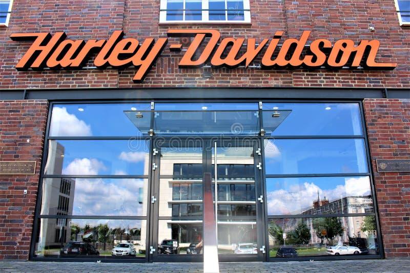 Een beeld van Harley Davidson Logo - Bielefeld/Duitsland - 07/23/2017 royalty-vrije stock foto's