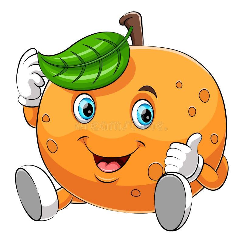 Een beeldverhaal gelukkig oranje karakter stock illustratie