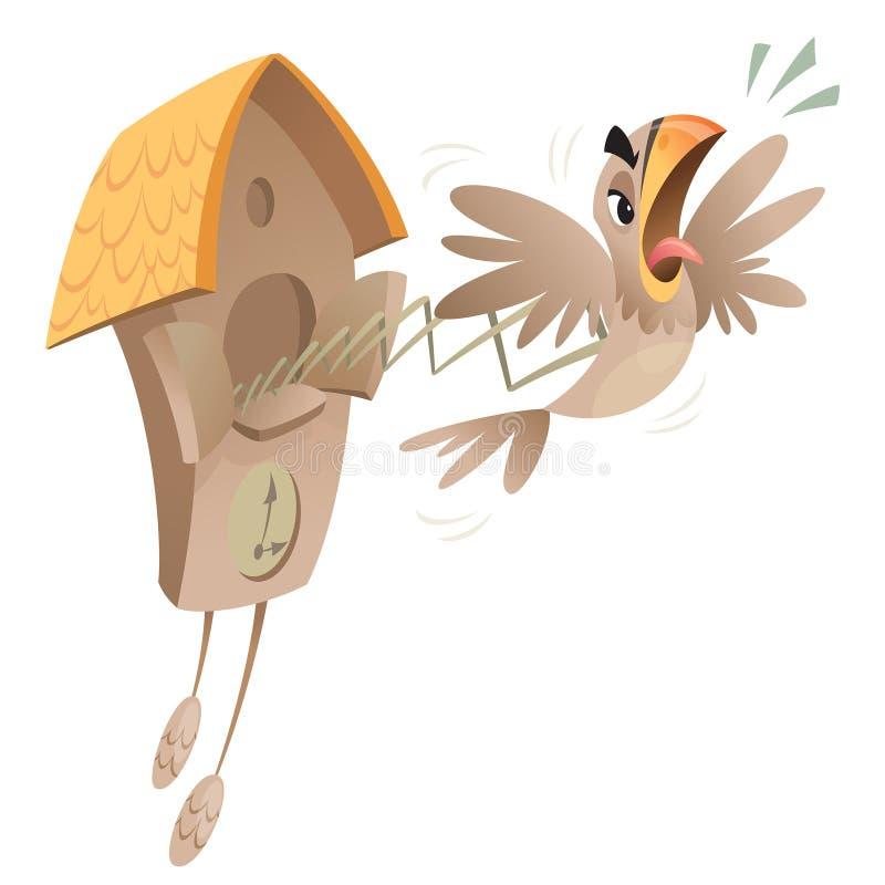Gekke koekoeksklok stock illustratie