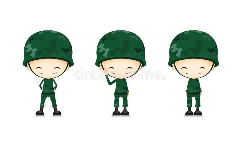 Een beeldverhaal van de legermilitair stock illustratie