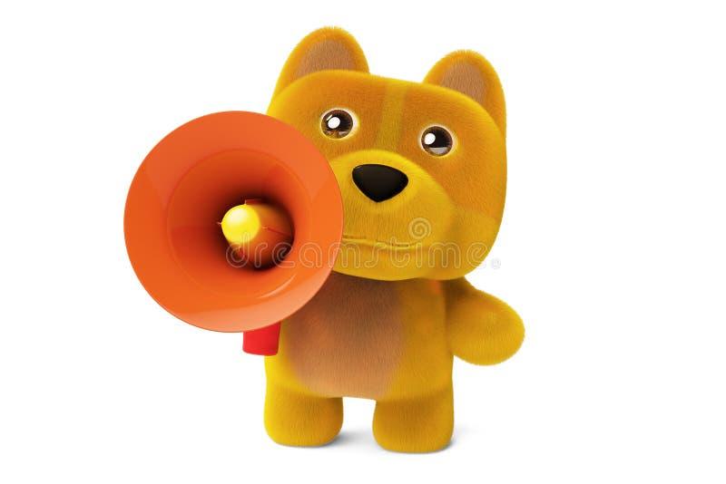 Een beeldverhaalhond en een megafoon, 3D illustratie vector illustratie