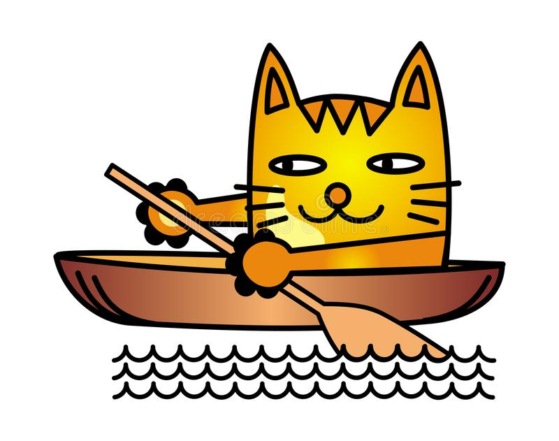 Een beeldverhaalkat zwemt in een boot en een rij met een peddel Vector stock illustratie
