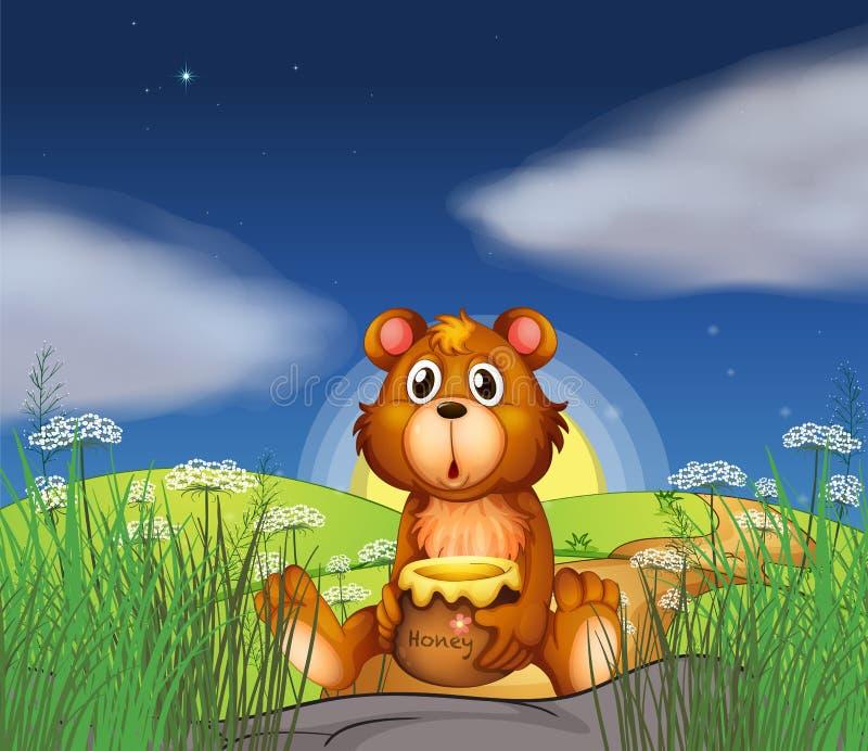 Een beer bij de heuveltop die een pot van honing houden vector illustratie