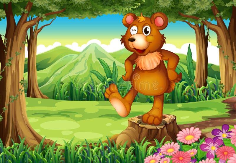 Een beer bij het bos die zich boven de stomp bevinden vector illustratie