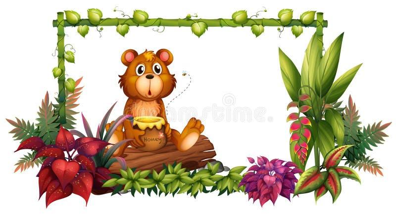 Een beer boven een boomstam in de tuin royalty-vrije illustratie