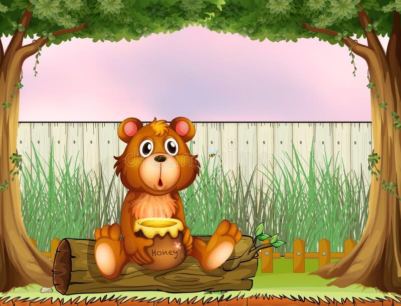Een beer boven een boomstam die een honing houden vector illustratie