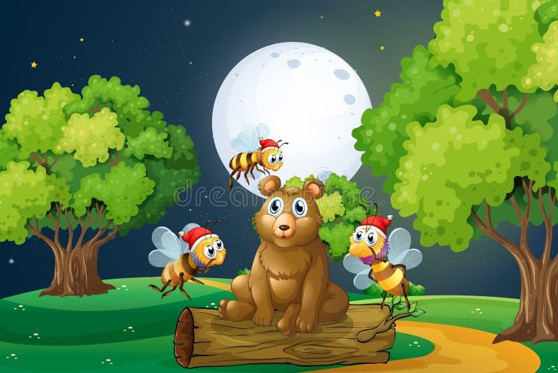 Een beer boven het logboek met Kerstmanbijen die wordt omringd vector illustratie