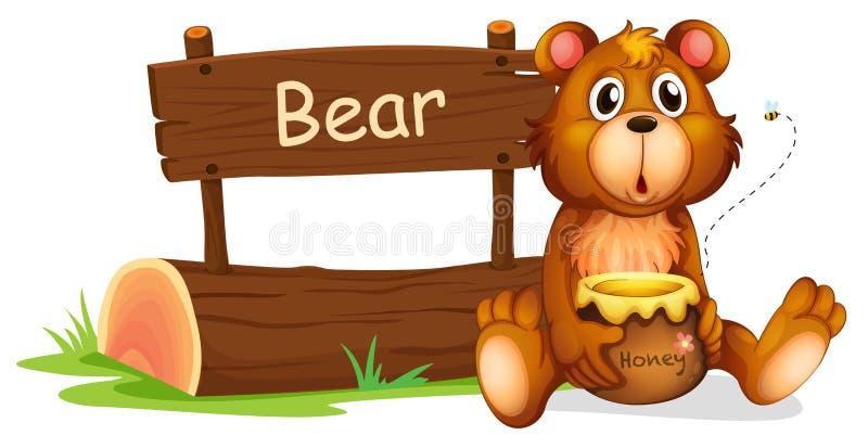 Een beer die een honing naast een houten uithangbord houden stock illustratie