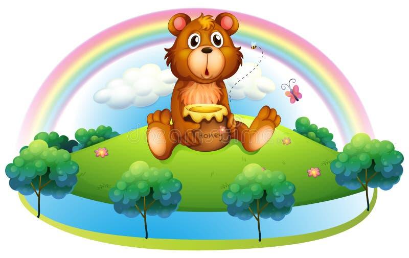 Een beer die een pot van honing houden bij de heuvel royalty-vrije illustratie