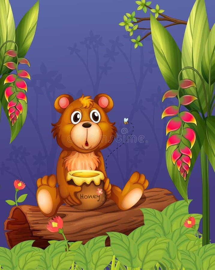 Een beer die een pot van honing houden bij het hout vector illustratie