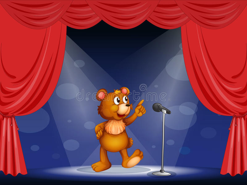 Een beer die op het stadium presteren vector illustratie