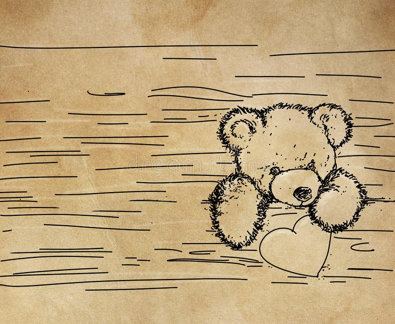 Een beer die uit geeft een doos komen stock illustratie