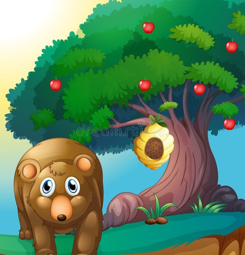 Een beer en een appelboom met een bijenkorf royalty-vrije illustratie