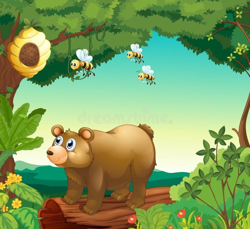 Een beer met drie bijen binnen het bos stock illustratie