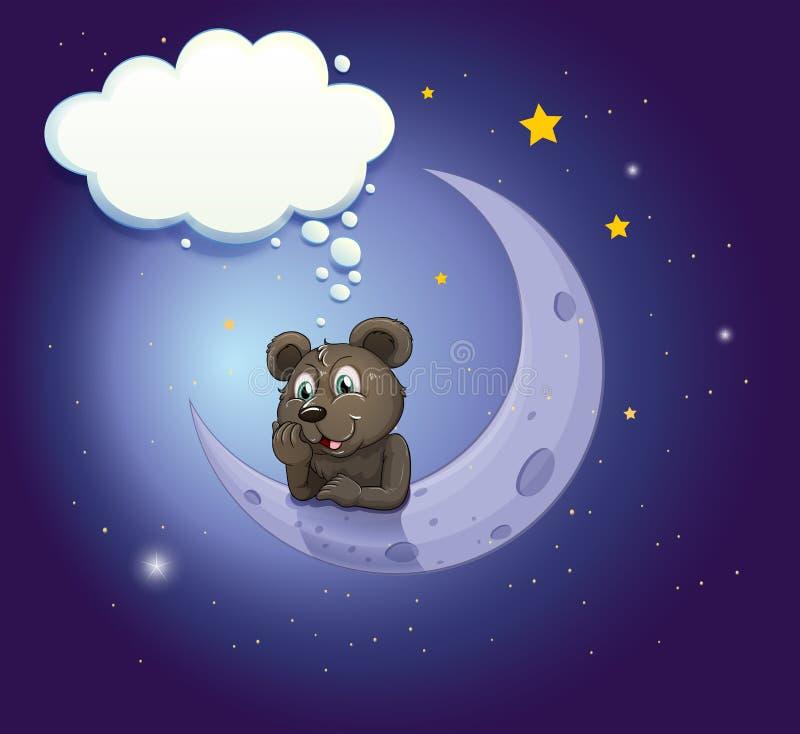 Een beer met een lege callout die over de maan leunen vector illustratie