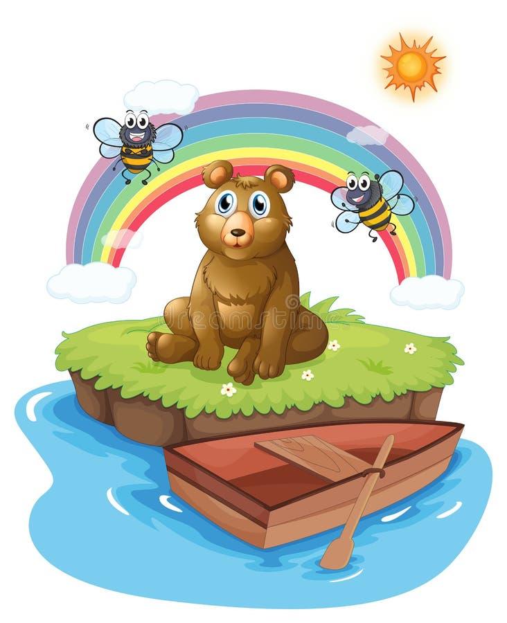 Een beer met twee bijen stock illustratie