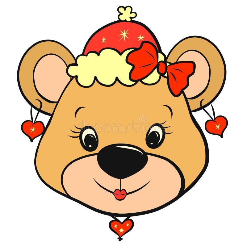Een beermeisje in een slimme Kerstmis of de winterhoed, met oorringen vector illustratie