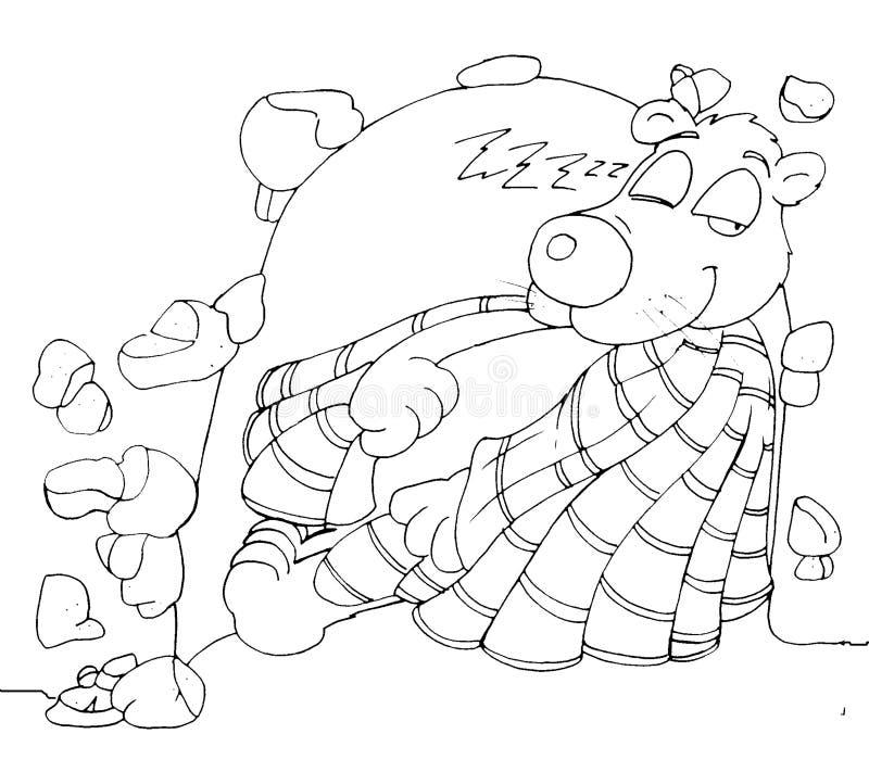 Een beerslaap in het hol met het binnenruggegraat kleuren voor jonge geitjes royalty-vrije illustratie