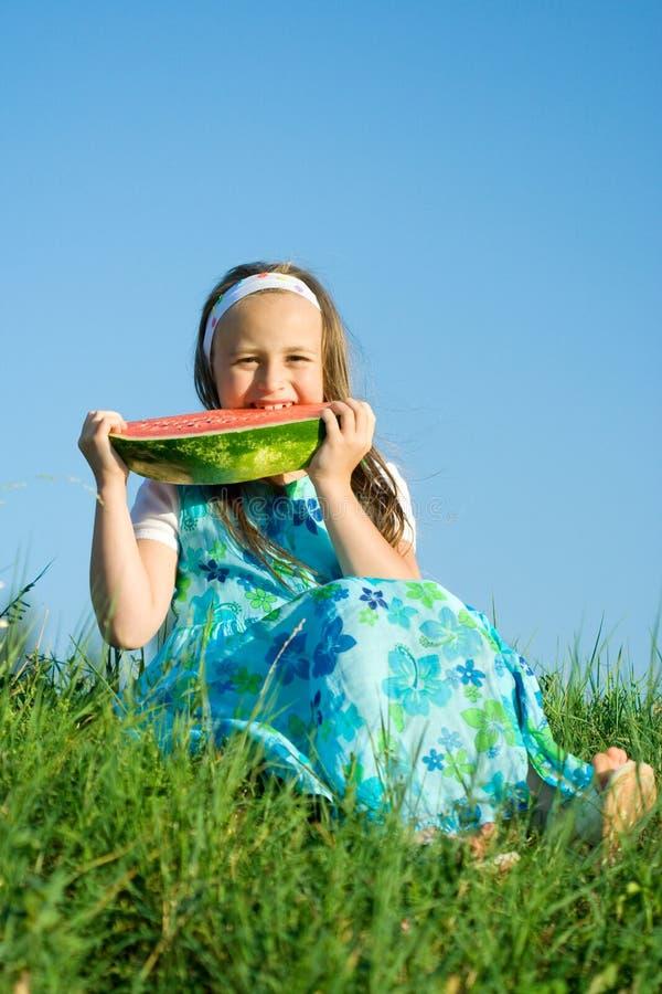 Een beet van watermeloen royalty-vrije stock afbeeldingen