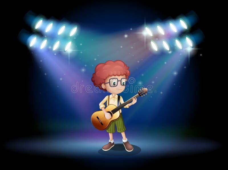 Een begaafde tiener in het midden van het stadium met een gitaar royalty-vrije illustratie