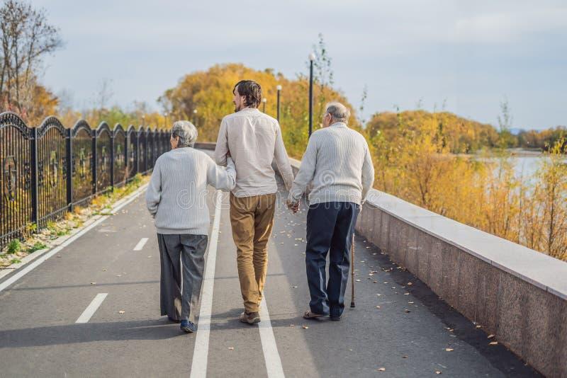 Een bejaard paar loopt in het park met een mannelijke hulp of volwassen kleinzoon Gevend voor de bejaarden, het aanmelden zich royalty-vrije stock afbeelding
