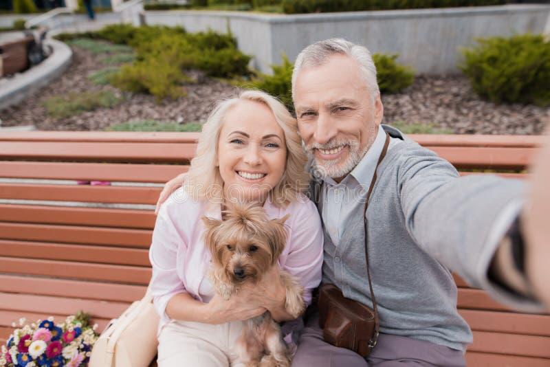Een bejaard paar maakt selfie op een mooi vierkant Een vrouw houdt een kleine hond in haar handen royalty-vrije stock foto's