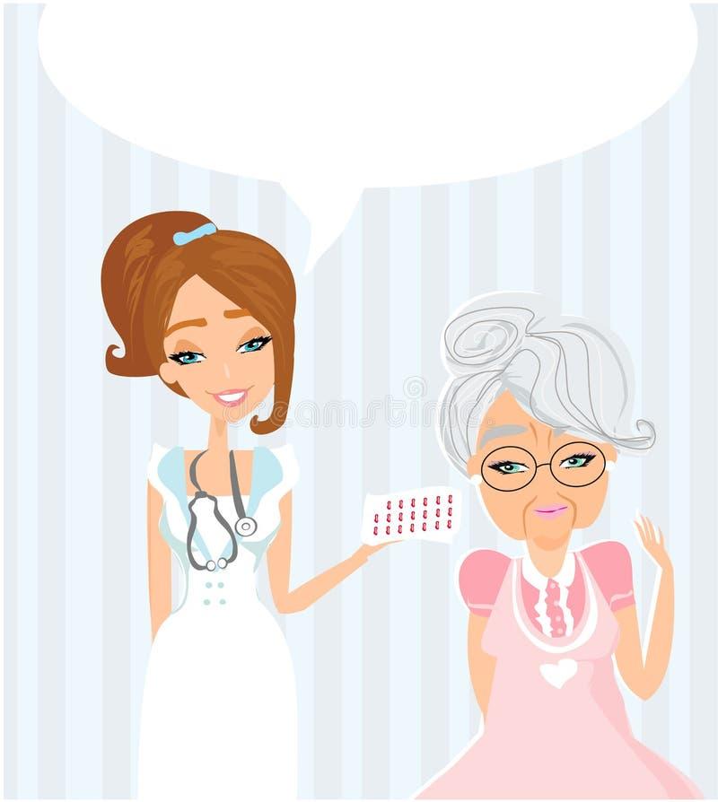 Een bejaarde dame bij de arts in de praktijk stock illustratie