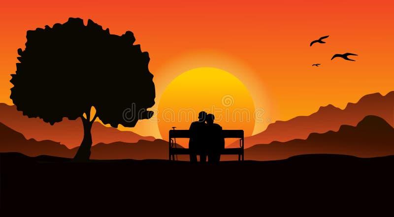 Een bejaarde paarzitting op een bank op een bergachtig gebied, naast een grote boom Bekijk de mooie zonsondergang royalty-vrije illustratie