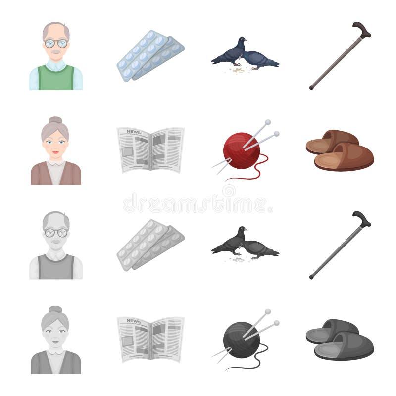 Een bejaarde, pantoffels, een krant, het breien Pictogrammen van de oude dag de vastgestelde inzameling in beeldverhaal, zwart-wi vector illustratie